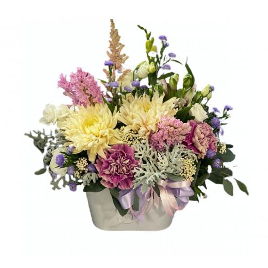 Basket of Chrysanthemum, Carnation, Alstroemeria