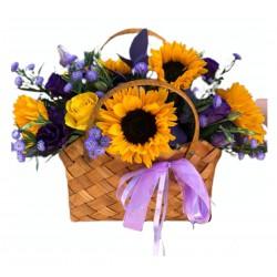 Basket of Sunflower, Roses, Eustoma