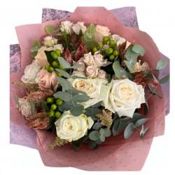 Bouquet of Roses, Spray roses, Eucalyptus, Garden Roses, Celosia