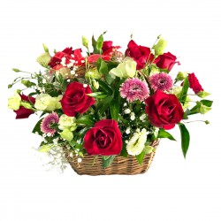 Basket of Roses, Eustoma & Gerbera