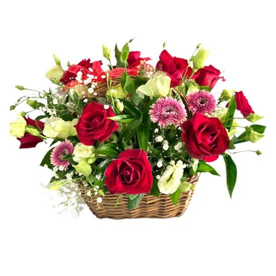 Basket of Roses, Eustoma & Gerbera