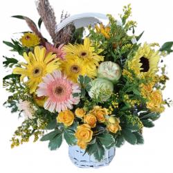 Basket of Gerberas, Roses and Greens