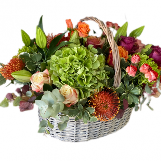 Basket  of Hydrangea, Spray Roses, Roses, lilies and Greens