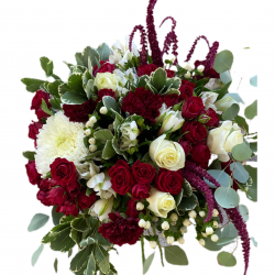 Bouquet of Chrysanthemums , Roses and Spray Roses, greens