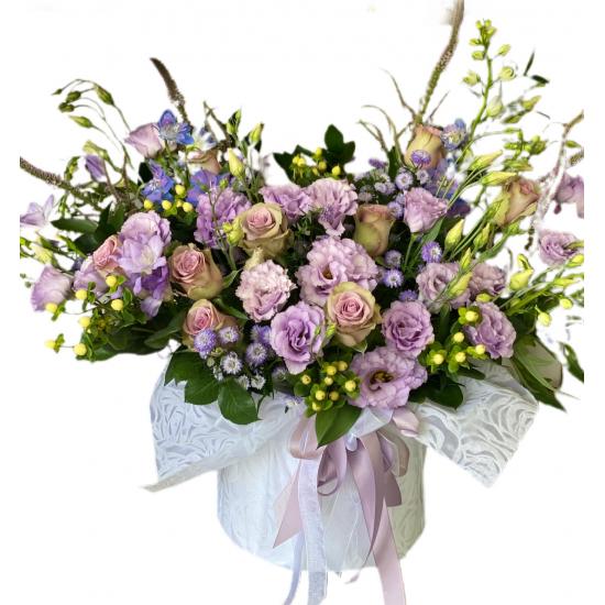 Box of Eustoma, Roses, Hypericum