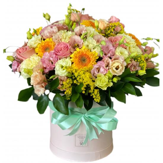 Box of Eustoma, Roses, Gerberas