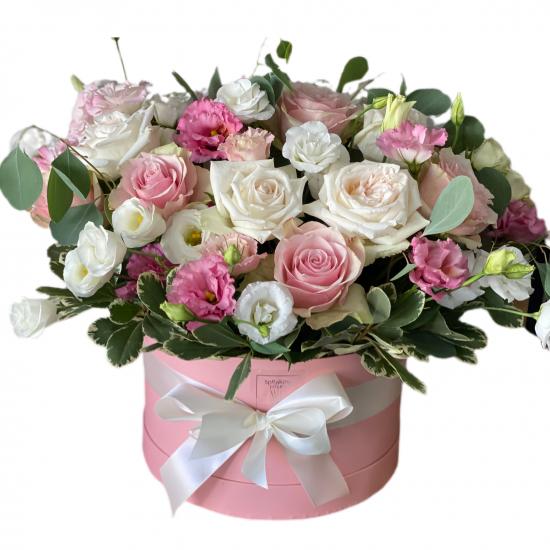 Box of Roses, Eustoma and Greens