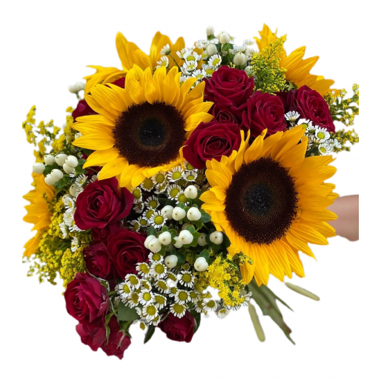 Bouquet of Sunflowers, Spray Roses, Chrysanthemums and Greens
