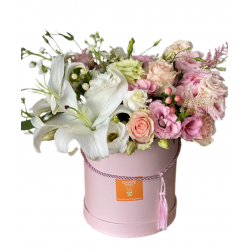 Box Small of Lilies, Eustoma and Roses