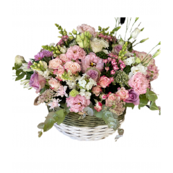 Basket of Mix Flowers, Eustoma and Spray roses