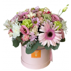 Box of Gerberas, Eustoma and Chrysanthemums