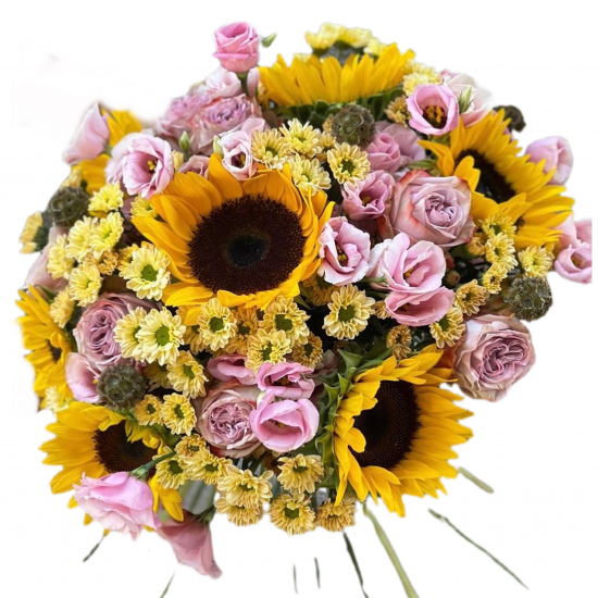 Bouquet of Sunflowers, Roses, Eustoma and Chrysanthemums