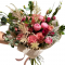 Bouquet of peonies and roses, eucalyptus