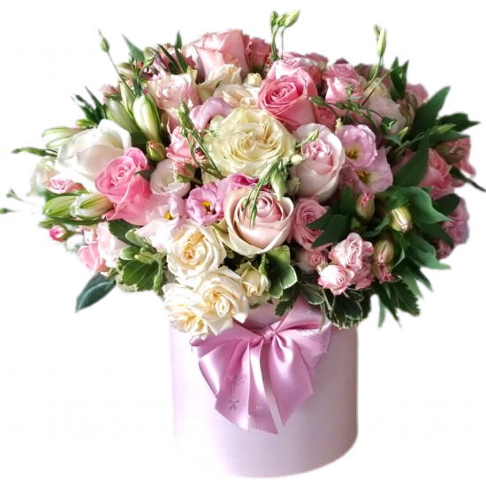 Box of Roses, Spray Roses and Eustoma