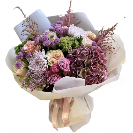 Bouquet of Hydrangea, Roses and Chrysanthemums
