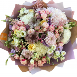 Bouquet of Roses, Hydrangeas, Eustoma and Chrysanthemums