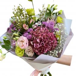 Bouquet of Hydrangea, Eustoma, Alstroemerias and Chrysanthemums
