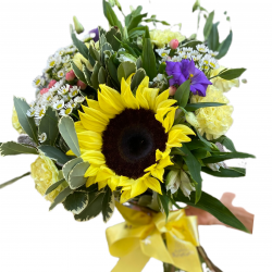 Bouquet of Sunflower, Eustoma, carnations and Chrysanthemums