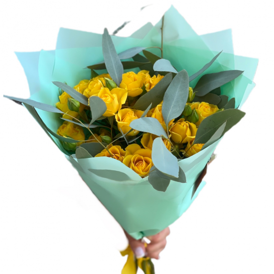 Bouquet of Spray Roses (Yellow ) and Eucalyptus
