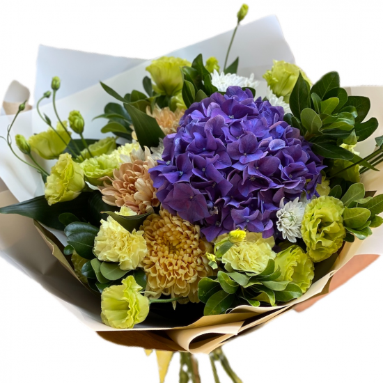 Bouquet of Hydrangeas, Eustoma, Chrysanthemums and Green