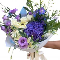Bouquet of Hydrangea, Mini Roses, Eustoma and Gerbera
