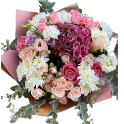 Bouquet Mix of Spray Roses, Hydrangea and Eustoma and chrysanthemums
