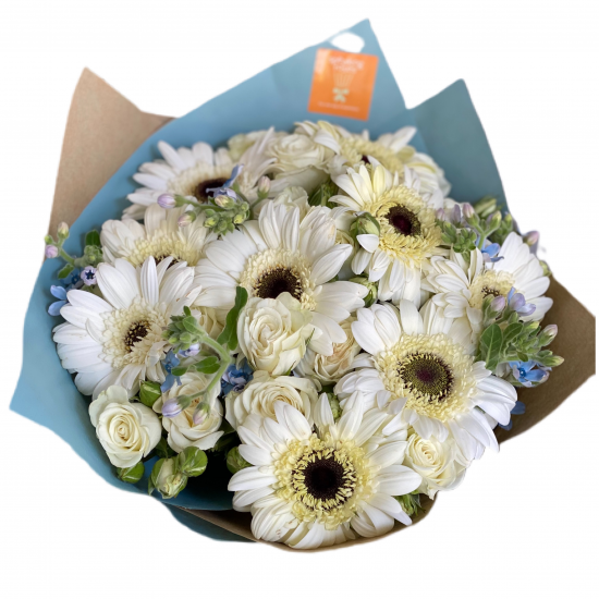 Bouquet of Gerberas, mini roses and Greens