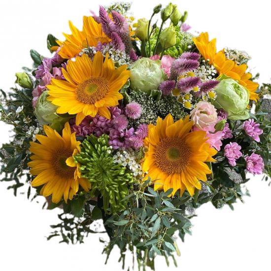 Bouquet of sunflowers, chrysanthemum , roses, greens