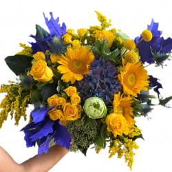 Bouquet of sunflowers, Spray Roses, roses, hydrangea