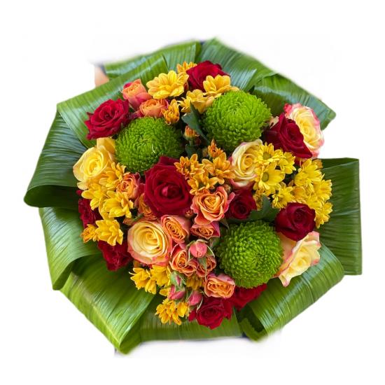 Bouquet of Roses, Spray Roses, Chrysanthemum, Aspidistra