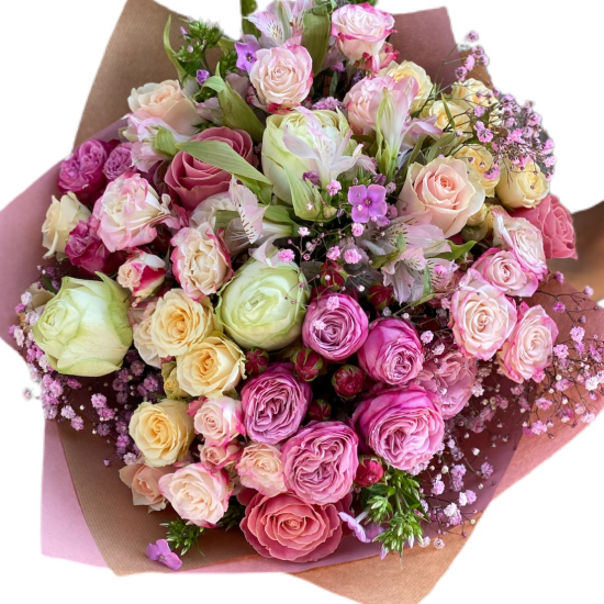 Bouquet of Roses and Spray Roses, Astromeria
