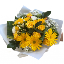 Bouquet of yellow Gerberas, mini roses and Greens