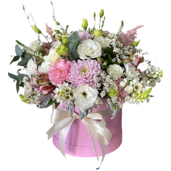 Box of Eustoma, Alstroemerias and Chrysanthemums