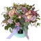 Box of spray roses, carnations, greens