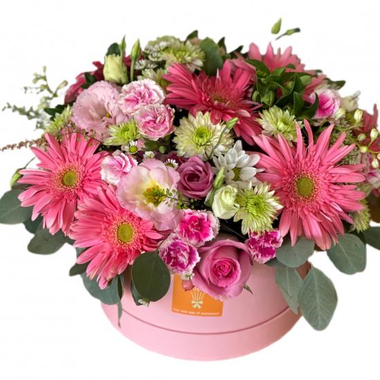 Box of Gerberas, Carnations and Chrysanthemums