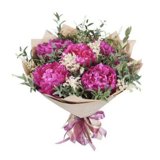 Bouquet of 5 Peonies and Greens