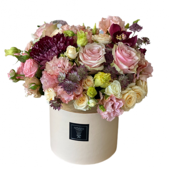 Box with Roses, Spay Roses, Eustoma