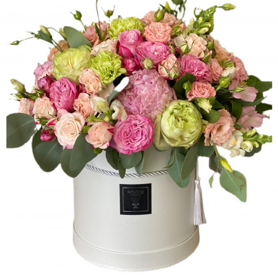 Box of roses, spray roses, Eustoma, Alstroemerias and Greens