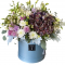 Box of Hydrangea; roses, Chrysanthemums, wax