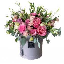 Box of roses, spray roses, Eustoma, carnations
