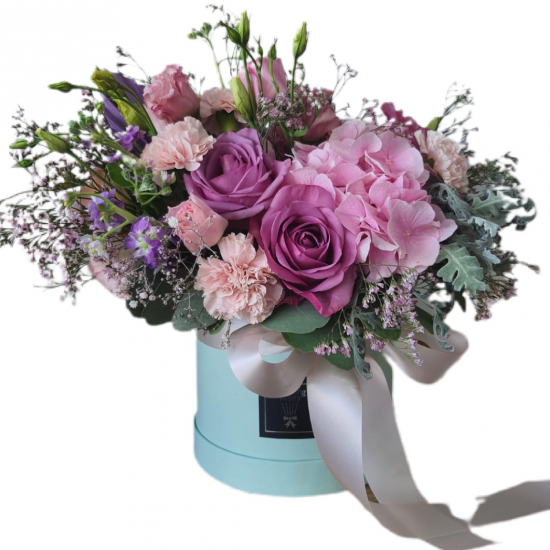 Box of roses, carnations, greens, Eustoma
