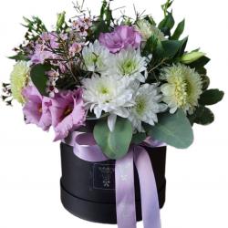 box of Eustoma, chrysanthemums
