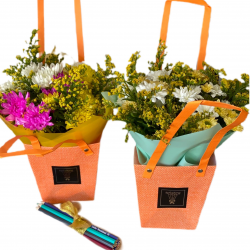 Bag of Chrysanthemums and Greens