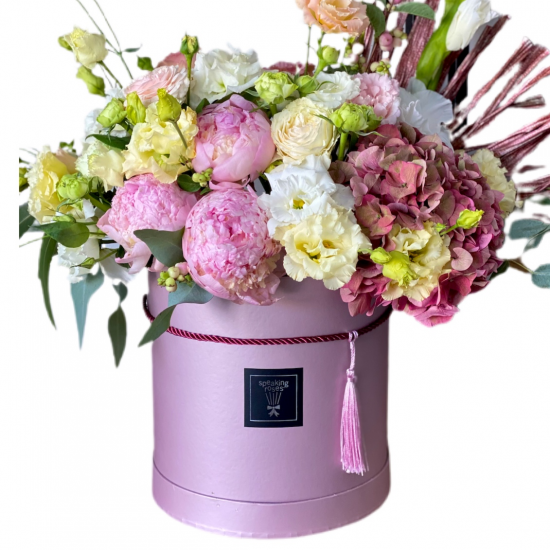 Box of Hydrangea, Peonies, Eustoma and Roses