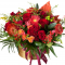 Box with roses, gerbera, spray roses