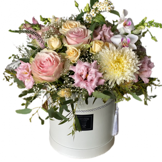 Box with roses, Eustoma, chrysanthemums
